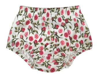 Organic Cotton English Roses Floral Baby Girl Bloomers - Pink Rose Diaper Cover