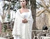 Wedding Shawl, Merino Wool Cashmere Laces Shawl, Ivory Color Wedding Stola, Bridal Wrap, Cashmere Wedding Wrap, Handknitted Wedding Shawl