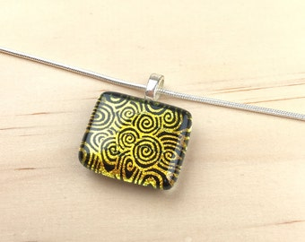 Pendant Necklace, Gold and Black Spiral PatternDichroic Glass