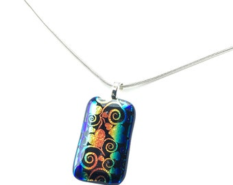 Pendant Necklace, Gold and Blue Hearts, Metallic, Dichroic Jewelry