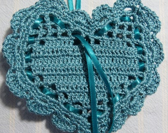 """Turquoise 4""""X4"""" Heart Sachet-'Amish Quilt' Fragrance-Hand Crocheted-Herbal-Cotton and Satin-Cindy's Loft-597"""