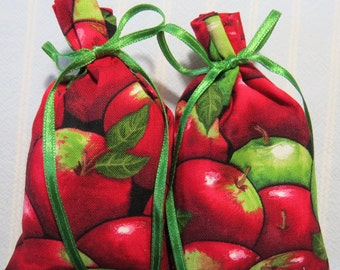 """Red 4""""X2"""" Sachet-'Apple' Fragrance-Red and Green Father's Day Sachet-Green Ribbon-Cotton Holiday Unisex Apple Sachets-Cindy's Loft-246"""
