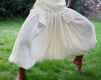 Boho harem trousers, Crocheted Hippie pants, baggy cotton loose pants, Bohemian orient pants, Boho lace trousers, bohemian beach pants