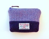 Purple and lilac Harris Tweed makeup bag - two-tone cosmetic bag - padded - handmade in Scotland