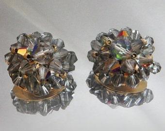 FALL SALE Vintage Smoky Gray Beaded Earrings. Aurora Borealis Crystals. Wedding. Bride