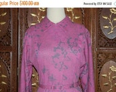 ON SALE Vintage 1980s Dusky Pink with Gray Abstract Print Jersey Dress Sz M