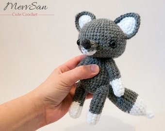 MADE to ORDER - Amigurumi Woodland Critter Wolf - crochet animal plush, amigurumi wolf toy, wolf plush, cute crochet wolf doll