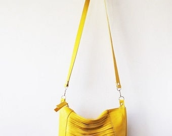 ON SALE yellow leather bag, Every day purse , Cross-body bag