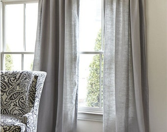 Spring Sale 20% off-Solid Grey Storm Cotton Curtains 2 Panels, Window Treatments/ Curtains