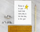 The Best Day Card. A good luck and inspirational note card to give to your friends. Ralph Waldo Emerson quote card. Write it on your heart..
