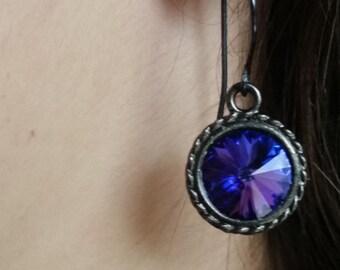 Purple and Blue Earrings, Gunmetal Earrings, Swarovski Earrings, Bridesmaid earrings, custom color earrings, wedding earrings, Prom earrings
