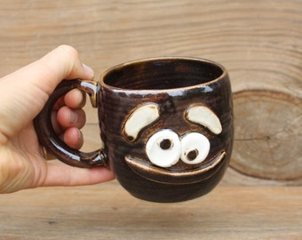 Smiley Face Mug. Black Coffee Cup. Handmade Stoneware Pottery Clay Hot Cold Beverage Mug. Nelson Studio Ug Chug Face Mug. Hot Tea Cup.