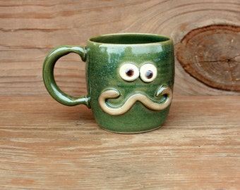 Hipster Mug. Mans Handlebar Mustache Mugs. Large 16 Ounces Ironic Teacup. Frosty Green. Mustache Love Mug. Fun Funky Pottery Coffee Cups.