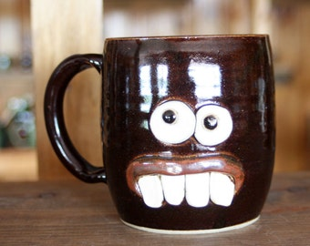 Large Face Mug. Dentist Orthodontist Hygienist Gift. Funny Coffee Cup Chocolate Black. Handmade Ceramic Mug. Man Woman Beer Tea Mugs.