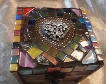 MOSAIC BOX, Treasure Box, Jewelry Box, Multicolored, Rhinestone Heart
