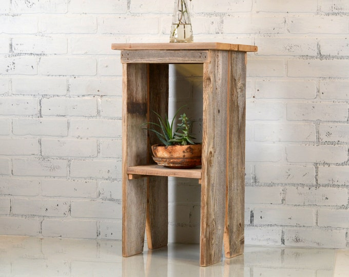 Reclaimed Cedar Side Table Natural Rustic Wood -  Bench Style Nightstand - Plant Stand - Wooden Furniture Barn Wood Cottage Style - IN STOCK