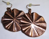 vintage tarnished copper tone large dangle and drop pierced earrings 1015C