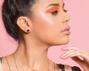 Carbon Black Druzy Stud Earrings