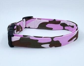 Girl Pups Wear Camo Too Dog Collar Camouflage Pink Green Brown