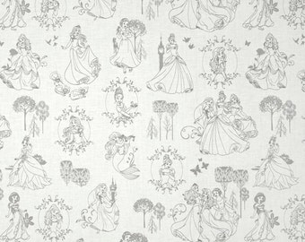 Custom Fitted Crib ~ Toddler Bed Sheet ~ Disney Princess Grey Toile