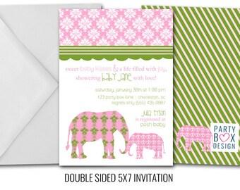 Damask Elephants Baby Shower Invitation