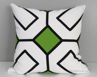 Modern Lime Green Outdoor Pillow Cover, Black & White, Decorative Geometric Pillow Case, Sunbrella Cushion Cover, Throw Pillow Cover