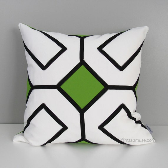 Modern Lime Green Outdoor Pillow Cover Black & White