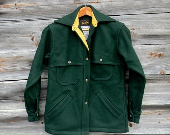 Vintage Hunting Jacket, Feild Jacket, Green Wool Shooting Coat, Heavy Wool Shirt, Sportsman's Hunting Coat, Jacket, Dark Green Wool Shirt