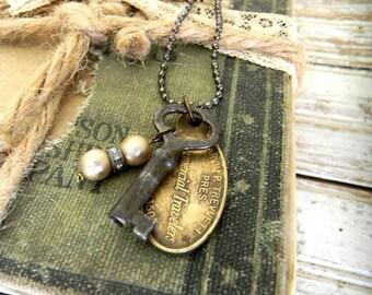 """Key Necklace, Skeleton Key Necklace, Vintage Assemblage, Steampunk Style Key Pendant Necklace, """"Key To My Heart"""" Necklace, Key Jewelry"""