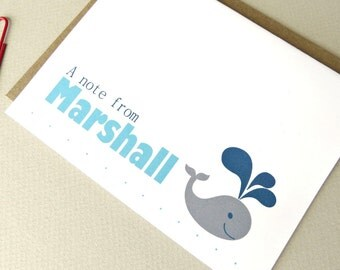 Personalized Whale Stationery Gift Set Boys Note Cards Blank Inside Set of 10 with Envelopes