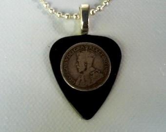 Guitar pick Pendant - 1919 Canadian King George Dime
