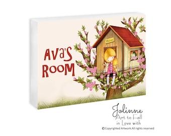 Kids room signs, personalized door signs, Girls name plaques, custom door signs, tree house, nursery signs, door name signs,girl room signs