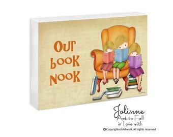 Kids Reading Books Door Sign Personalized Name Book Nook Sign Classroom Door Hanger Library Door Plaque School Reading Room Teacher's Gift