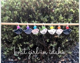Little Birdy - Rainbow - Bright - Bird Stitch Markers (Set of 7)