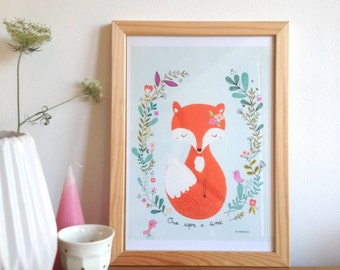 Fox art print,  fox and birds illustration poster - Art print for the home - size A4 - Once upon a time