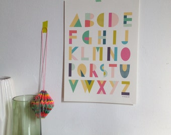 Alphabet poster for children, for nursery, art print for the home, A4 - 8, 27 x 11, 7""