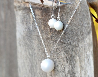 Sterling Silver Pearl Bridesmaid Jewelry Set, Vintage Matte White Jr Bridesmaid Pearl Jewelry Gift Set, Bridesmaid Set, Choose Color