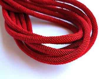 Rib silk cord, 7mm red cord - 1m