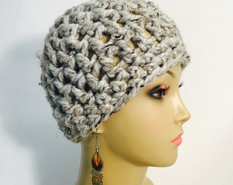 Grey Tweed Crocheted Hat