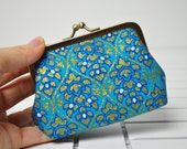 Coin Purse -  Gold and Blue Flowers