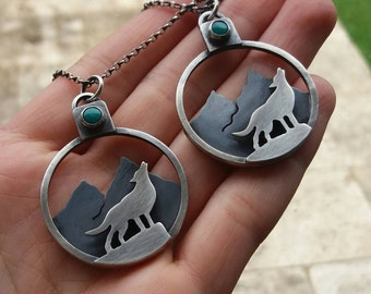 wolf and mountain necklace - gemstone necklace - turquoise necklace - sterling silver copper necklace - landscape necklace - animal - wild