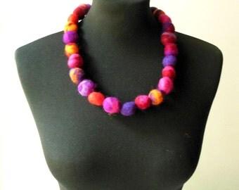 felt balls color mix necklace, statement necklace, eco friendly, strand necklace
