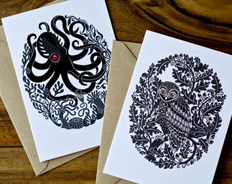 Octopus and Owl 'Animal Dioramas' - Set of 2 Greeting Cards
