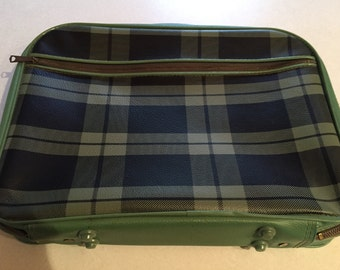 Vintage - Suitcase - Small Child Case - Travel Case - Green Plaid - Storage Case - Make Up Case - Electronics Case -