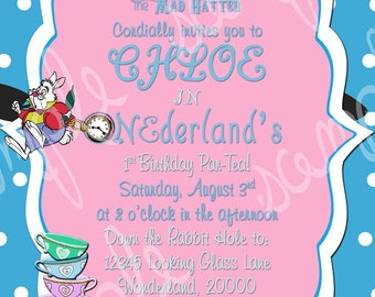 Custom Alice in Wonderland Tea Party Birthday Invitation Digital File