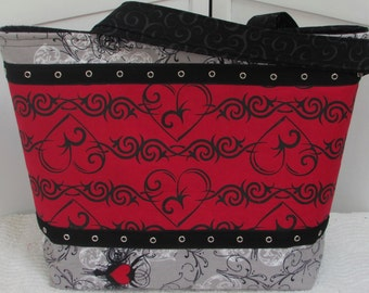 The Gothic Heart Large Tote Bag Twilight Baroque Punk Heart tattoo Purse Alternative Fashion Tote  Ready to Ship