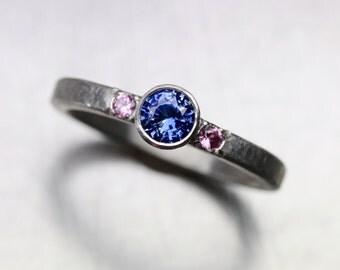 Blue and Pink Sapphire Palladium Engagement Ring Modern Gray Romantic Purplish Periwinkle Ceylon September Birthstone - Industrial Pastel