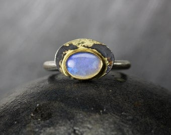 Oval Blue Opal Oxidized Silver Ring 22K Yellow Gold Bezel 18K Gold Solder Splatter October Birthstone Natural Gemstone - Planetary Forces