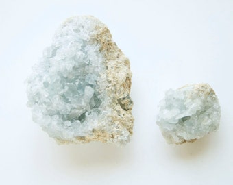 Celestite Geodes, Pair of Small Raw Crystal Geode Clusters, Small Mineral Specimen, Boho Home Decor, Spiritual Gift, Little Something