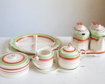 Tea Set, Twin Teapots, Art Deco, Fun, Red, Green and Yellow, Colorful Home and Living, Local Pick Up Available, Tea For Two
